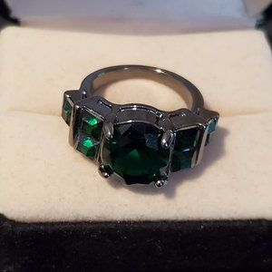 Size 6 Black Rhodium Plated Green Emerald Ring